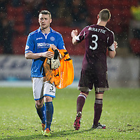 St Johnstone v Hearts.....18.01.14   SPFL<br /> A gutted Tam Scobbie who had to stand in as keeper walks off at full time<br /> Picture by Graeme Hart.<br /> Copyright Perthshire Picture Agency<br /> Tel: 01738 623350  Mobile: 07990 594431