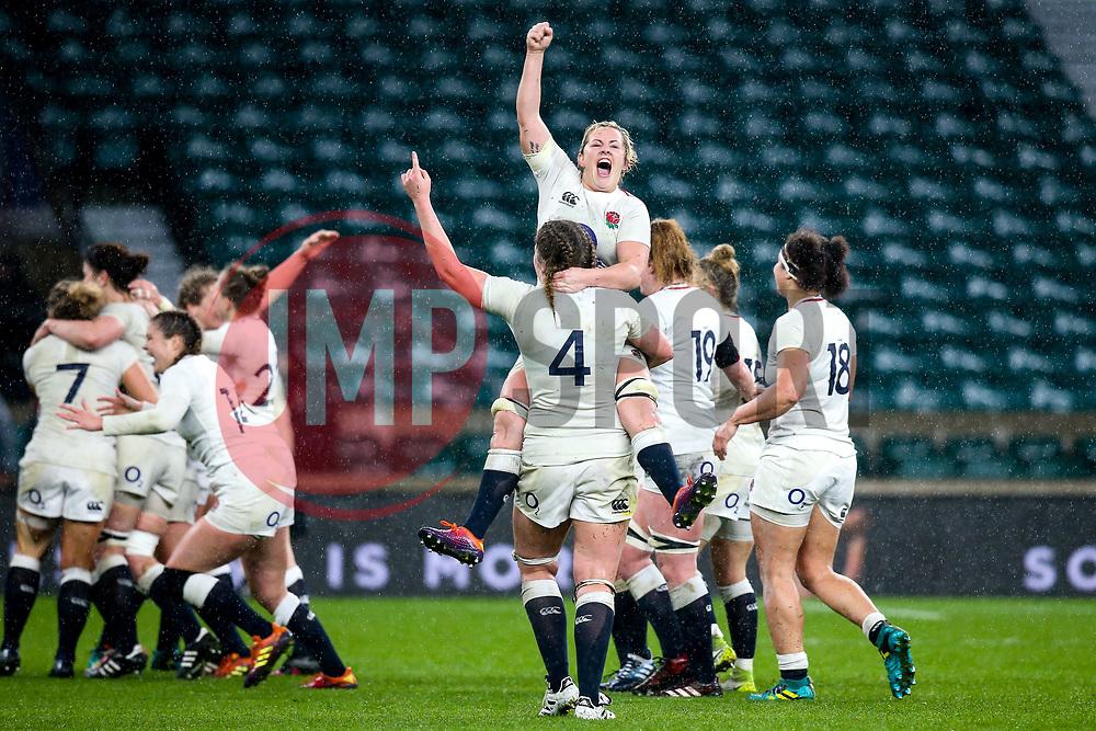 England Women celebrate winning the Women's Six Nations and Grand Slam - Mandatory by-line: Robbie Stephenson/JMP - 16/03/2019 - RUGBY - Twickenham Stadium - London, England - England Women v Scotland Women - Women's Six Nations