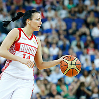 09 August 2012: Russia Natalya Zhedik brings the ball upcourt during 81-64 Team France victory over Team Russia, during the women's basketball semi-finals, at the 02 Arena, in London, Great Britain.