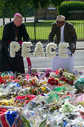 The former Archbishop of Southwark Kevin McDonald and Imam Ali of the British Armed Forces lay a wreath in memory of Drummer Lee Rigby, Woolwich Barracks, South London, <br /> Friday, 31st May 2013<br /> Picture by i-Images