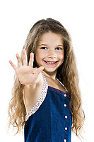 one caucasian little girl portrait high-five salute isolated studio white background