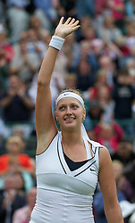 28.06.2011, Wimbledon, London, GBR, WTA Tour, Wimbledon Tennis Championships, im Bild Petra Kvitova (CZE) celebrates after winning the Ladies' Singles Quarter-Final match on day eight of the Wimbledon Lawn Tennis Championships at the All England Lawn Tennis and Croquet Club. EXPA Pictures © 2011, PhotoCredit: EXPA/ Propaganda/ David Rawcliffe +++++ ATTENTION - OUT OF ENGLAND/UK +++++ // SPORTIDA PHOTO AGENCY