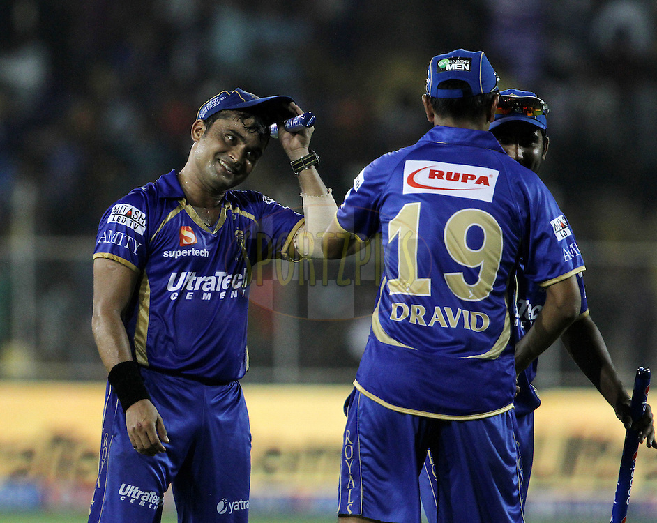 Pravin Tambe of the Rajasthan Royals after winning the match 25 of the Pepsi Indian Premier League Season 2014 between the Rajasthan Royals and the Kolkata Knight Riders held at the Sardar Patel Stadium, Ahmedabad, India on the 5th May  2014<br /> <br /> Photo by Vipin Pawar / IPL / SPORTZPICS      <br /> <br /> <br /> <br /> Image use subject to terms and conditions which can be found here:  http://sportzpics.photoshelter.com/gallery/Pepsi-IPL-Image-terms-and-conditions/G00004VW1IVJ.gB0/C0000TScjhBM6ikg