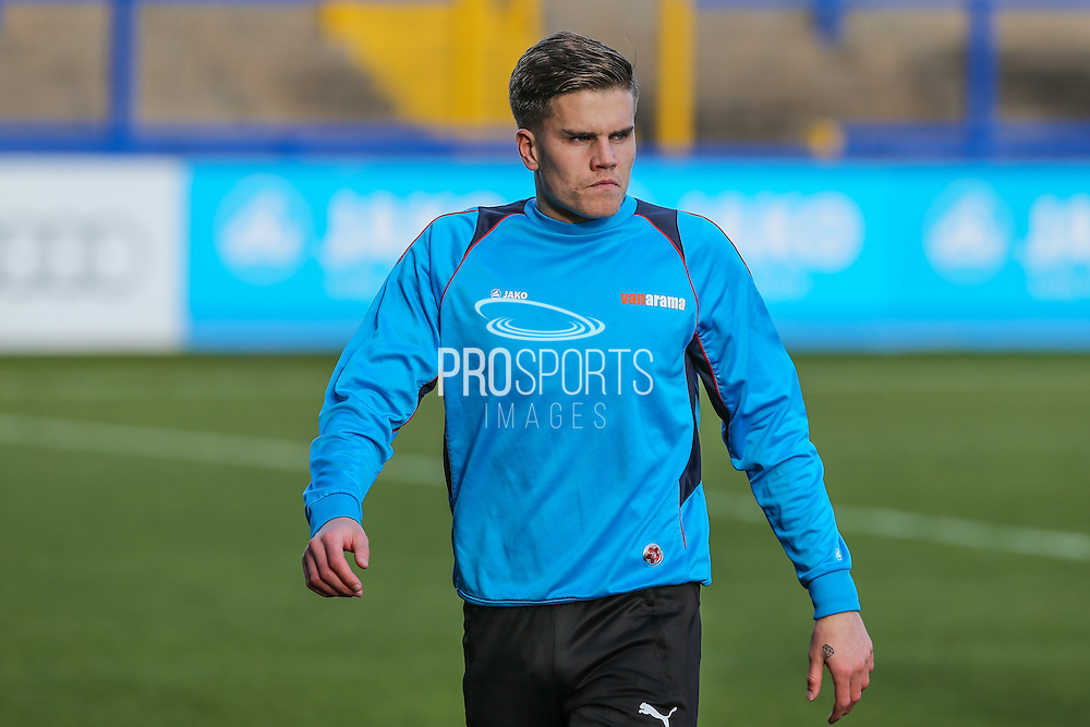 Forest Green Rovers Charlie Cooper(20) warming up during the FA Trophy match between Macclesfield Town and Forest Green Rovers at Moss Rose, Macclesfield, United Kingdom on 4 February 2017. Photo by Shane Healey.