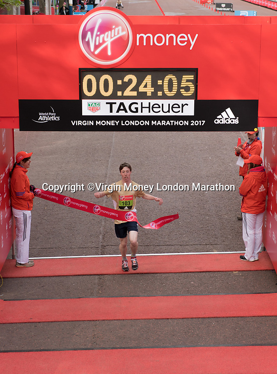 Toby Markham winner of the U17 Boys Virgin Money Giving Mini London Ambulant Marathon. The Virgin Money London Marathon, 23rd April 2017.<br /> <br /> Photo: Thomas Lovelock for Virgin Money London Marathon<br /> <br /> For further information: media@londonmarathonevents.co.uk