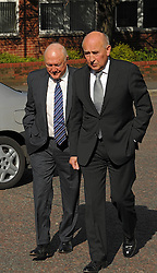 (Right) Stuart Hall, accompanied by Maurice Watkins,  makes his way into Preston Crown Court after pleading guilty to 14 charges of indecent assault, UK, May 2, 2013. Photo by:  i-Images<br />