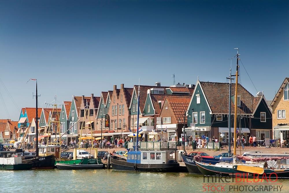 Port and houses.<br /> Volendam, Holland, Netherlands, Europe.