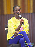 Dina Asher-Smith (GBR) during a news conference at the Intercontinental Doha Hotel-The City, Thursday, May 2, 2019, in Doha, Qatar prior to the 2019 IAAF Diamond League Doha meeting. (Jiro Mochizuki/Image of Sport)