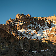 The rugged and steep Western Breach as seen from Arrow Glacier Camp on Mt Kilimanjaro's Lemosho Route.