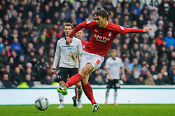 Nottingham Forest Midfielder Chris Cohen (ENG) scores a goal to give his side a 1-0 lead during the first half of the match - Photo mandatory by-line: Rogan Thomson/JMP - Tel: Mobile: 07966 386802 19/01/2013 - SPORT - FOOTBALL - Pride Park - Derby. Derby County v Nottingham Forest - npower Championship. The meeting of these two local sides is known as the East Midlands Derby with the winner claiming the Brian Clough Trophy.