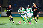 Yeovil Town's Francois Zoko on a run during the The FA Cup Third Round Replay match between Yeovil Town and Carlisle United at Huish Park, Yeovil, England on 19 January 2016. Photo by Graham Hunt.