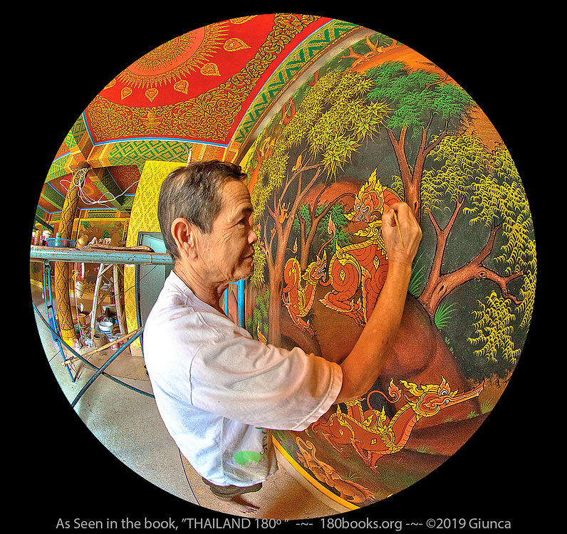 Master Painter Mr. Somkiat Sriprohm Working on a Mural.