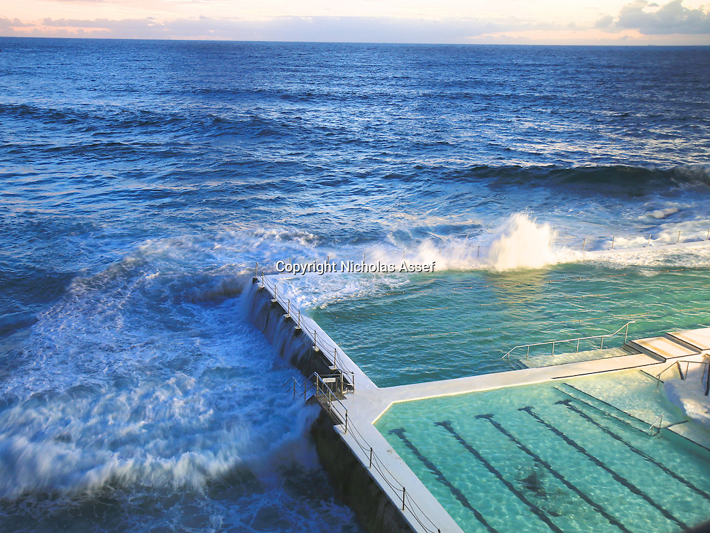 Water spills from the Icebergs pool on a warm summer's morning