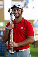 Jon Rahm of Spain holds the trophy after winning the European Tour DP World Championship at Jumeirah Golf Estates, Dubai, UAE on 19 November 2017. Photo by Grant Winter.