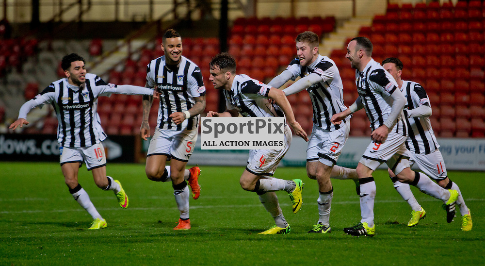 Dunfermline Athletic v Ross County Scottish Cup Season 2015/16 East End Park 09 December 2015<br /> Brad McKay leads the celebrations as he makes it 2-2<br /> CRAIG BROWN | sportPix.org.uk