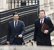 Wales Secretary Stephen Crabb and Attorney General Jeremy Wright arrive at the UK Cabinet meeting at Downing Street, London.<br /> Picture by Paul Davey/Focus Images Ltd +447966 016296<br /> 08/03/2016