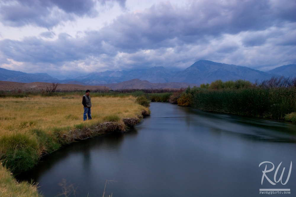 Owens River Lone Tourist at Dawn, Owens Valley, California