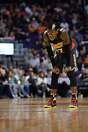 Jan 23, 2016; Phoenix, AZ, USA; Atlanta Hawks guard Dennis Schroder (17) looks up the court during the second half against the Phoenix Suns at Talking Stick Resort Arena. The Suns won 98-95. Mandatory Credit: Jennifer Stewart-USA TODAY Sports