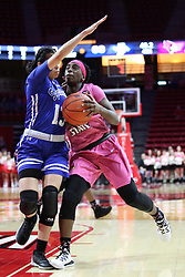 NORMAL, IL - February 10: Te Te Maggett defended by Alexis Delgado during a college women's basketball Play4Kay game between the ISU Redbirds and the Indiana State Sycamores on February 10 2019 at Redbird Arena in Normal, IL. (Photo by Alan Look)