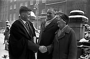 12/01/1963<br /> 01/12/1963<br /> 12 January 1963<br /> Degrees at UCD, Dublin. Mr Eoin Hurley of College Road, Cork being congratulated by his mother Mrs Joan Hurley, M.Sc. and His father Mr Jim Hurley, M.A., Secretary of University College Cork, on receiving his M.V.B. degree at UCD.