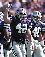 Kansas State linebacker Mark Simoneau (42) during game aciton against Kansas at KSU Stadium in Manhattan, Kansas in 1999.