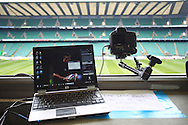 Time lapse camera set up on the press gantry to record the game at 1 frame every 15 seconds during the match between between the Barbarians and South Africa at Twickenham, London, on Saturday 4th December 2010. (Photo by Andrew Tobin/SLIK images)
