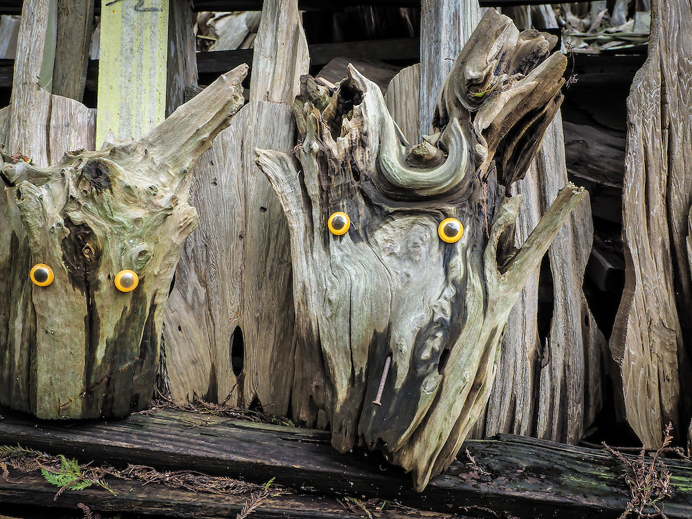 Sculpture made of drift would by self-taught artist at Adam's Cypress Swamp Driftwood Family Museum in Pierre Part, Louisiana.