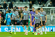 Newcastle United players celebrate following their 1-0 victory over Watford in the Premier League match between Newcastle United and Watford at St. James's Park, Newcastle, England on 3 November 2018.
