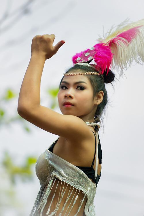 Thai dancers celebrate Songkran, Thai New Year, Nakhon Nayok, Thailand.