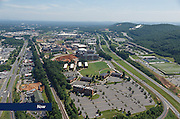 Aerial view of Liberty's campus showing development along Wards Road in July 2016.
