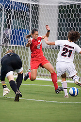 New Mexico Lobos F/MF Markee Nobriga (7) saves a goal from Arizona Wildcats F Analisa Marquez (21) after New Mexico Lobos GK Shannon Adragna (0) was passed...The New Mexico Lobos faced the Arizona Wildcats in the first game of the 2007 Nike Soccer Classic held at Klockner Stadium in Charlottesville, VA on August 14, 2007.  The Wildcats defeated the Lobos 4-1.