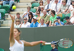LONDON, ENGLAND - Monday, June 22, 2009: Laura Robson's mother Kathy watches her daughter serve during her 6-3, 4-6, 2-6 defeat during the 1st Round of the Ladies' Singles on day one of the Wimbledon Lawn Tennis Championships at the All England Lawn Tennis and Croquet Club. (Pic by David Rawcliffe/Propaganda)