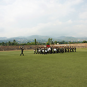 Burundi soldiers march at Prince Rwagasore Stadium in Bujumbura in preparation for the celebrations of the Country 53rd Independence Anniversary.