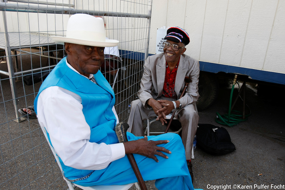 2010- Pinetop Perkins awaits his turn on stage at the King Biscut Blues Festival in Helena, Arkansas six months before he died. He is with bluesman Mojo Buford (rt).