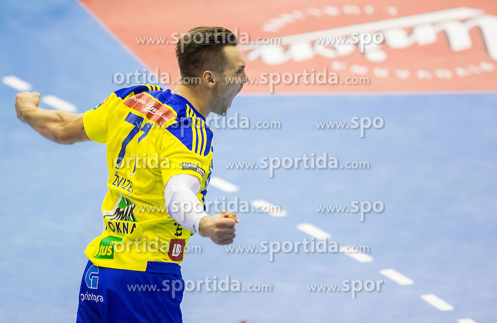 Luka Zvizej of RK Celje PL reacts during handball match between RK Celje Pivovarna Lasko and RK Zagreb in Round #2 of Group Phase of EHF Champions League 2015/16, on September 26, 2015 in Arena Zlatorog, Celje, Slovenia. Photo by Vid Ponikvar / Sportida