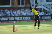 Fidel Edwards of Hampshire celebrates the wicket of Nick Gubbins during the Vitality T20 Blast South Group match between Middlesex County Cricket Club and Hampshire County Cricket Club at Lord's Cricket Ground, St John's Wood, United Kingdom on 26 July 2018. Picture by Dave Vokes.
