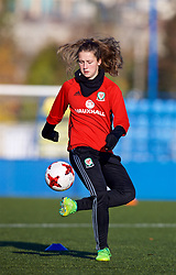 SAINT PETERSBURG, RUSSIA - Monday, October 23, 2017: Wales' Chloe Chivers during a training session at the Petrovsky Minor Sport Arena ahead of the FIFA Women's World Cup 2019 Qualifying Group 1 match between Russia and Wales. (Pic by David Rawcliffe/Propaganda)