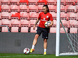 SOUTHAMPTON, ENGLAND - Thursday, April 5, 2018: Wales' Natasha Harding during a training session at St. Mary's Stadium ahead of the FIFA Women's World Cup 2019 Qualifying Round Group 1 match against England. (Pic by David Rawcliffe/Propaganda)