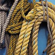 Detail Of Coiled Ropes On Fishing Boat, Homer, Alaska USA