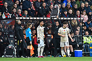 Manchester United manager Ole Gunnar Solskjaer looks puzzled with the electronic board being held up by the fouth official which appears not to be working as Jesse Lingard (14) of Manchester United comes on as a substitute during the Premier League match between Bournemouth and Manchester United at the Vitality Stadium, Bournemouth, England on 2 November 2019.