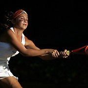 Bronxville, NY / 2007 - Bronxville's Amanda Aust played Scarsdale's Rebecca Lester in a singles tennis match at Bronxville High School.  ( Mike Roy / The Journal News )