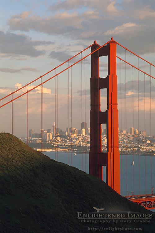 San Francisco and the Golden Gate Bridge  seen from the Marin Headlands, California