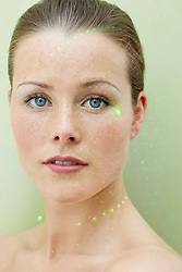 Beauty Portrait of Woman with Laser beam on Face