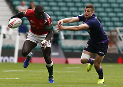 May 26, 2019 - Twickenham, England, United Kingdom - L-R Andrew Amonde of Kenya and Robbie Fergusson of Scotland.during The HSBC World Rugby Sevens Series 2019 London 7s Challenge Trophy Quarter Final Match 28 between Kenya and Scotland at Twickenham on 26 May 2019. (Credit Image: © Action Foto Sport/NurPhoto via ZUMA Press)