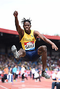 Tajay Gayle (JAM) places second in the long jump at 26-9¾ (8.17m) during the Grand Prix Birmingham in an IAAF Diamond League meet in Birmingham, United Kingdom, Saturday, Aug. 18, 2018. (Jiro Mochizuki/mage of Sport)
