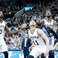 04 April 2017: Memphis Grizzlies forward JaMychal Green (0) vies for the rebound with San Antonio Spurs forward LaMarcus Aldridge (12), San Antonio Spurs guard Bryn Forbes (11) and San Antonio Spurs center Dewayne Dedmon (3) during the San Antonio Spurs 95-89 OT victory over the Memphis Grizzlies, at the AT&T Center, San Antonio, Texas, USA.