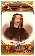 John Bunyan (1628-1688) English Puritan preacher.  Author of 'The Pilgrim's Progress' (London, 1878). Portrait from a mid-19th century edition illustrated with Kronheim chromolithographs, with scenes from 'The Pilgrim's Progress' at top and bottom.