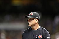Head coach Jim Harbaugh of the San Francisco 49ers warms up against the Baltimore Ravens during the NFL Super Bowl XLVII football game in New Orleans on Feb. 3, 2013. The Ravens won the game, 34-31.   (Photo by Jed Jacobsohn) (Photo by Jed Jacobsohn)