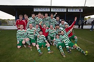 Fintry Rovers celebrate with the cup  - Fintry Rovers (green and white) v FC Kettledrum (red and black) , DSMFA Balgay Bar 1st Division League Cup final at Glenesk Park, Dundee, Photo: David Young<br /> <br />  - &copy; David Young - www.davidyoungphoto.co.uk - email: davidyoungphoto@gmail.com