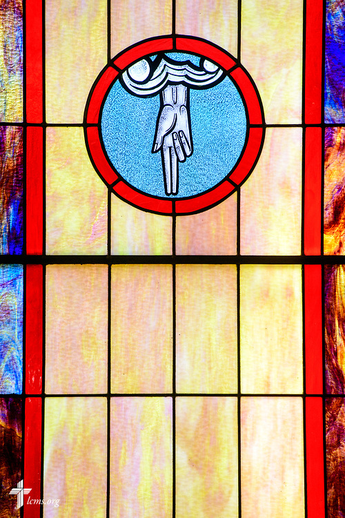 Stained glass depicting the Father at Zion Evangelical Lutheran Church, Lu Verne, Iowa, on Sunday, July 9, 2017. LCMS Communications/Erik M. Lunsford
